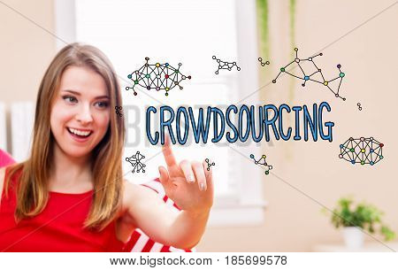 Crowdsourcing Concept With Young Woman