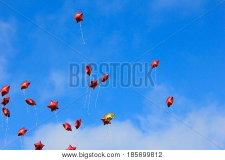 Balloons launched in the may 9 victory day