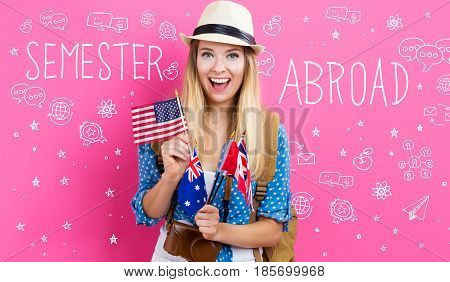 Semester Abroad text with young woman with flags of English speaking countries