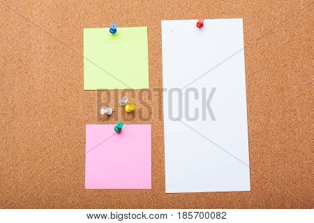 Pin Paper on cork board for text and background