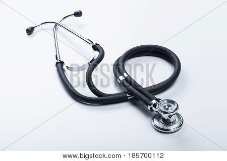 Medical stethoscope or phonendoscope isolated on white background