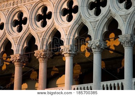 detail of the doges palace in venice