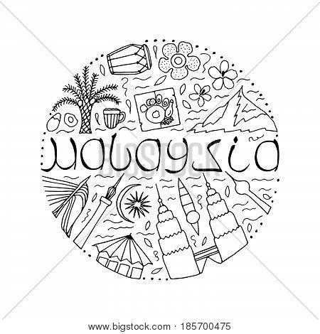 Culture Of Malaysia. Hand Drawn Symbols Of Malaysia. Vector Illustration.