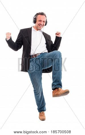 Happy Man Listening Music And Dancing