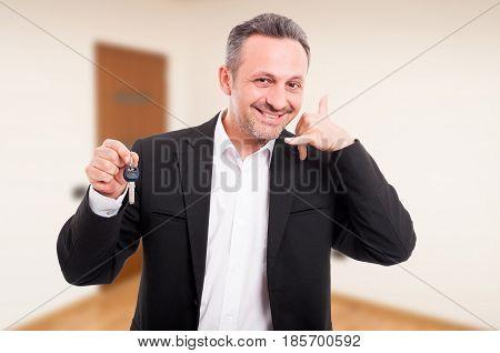 Realtor Man Is Holding House Keys