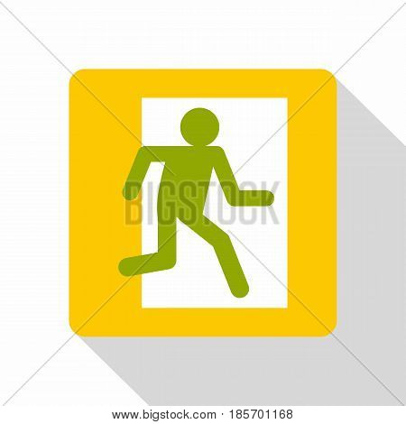 Fire exit sign icon. Flat illustration of fire exit sign vector icon for web