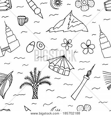 Culture Of Malaysia Hand Drawn Seamless Pattern.