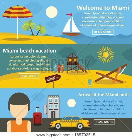 Miami landscape banner horizontal concept set. Flat illustration of 3 Miami landscape vector banner horizontal concepts for web