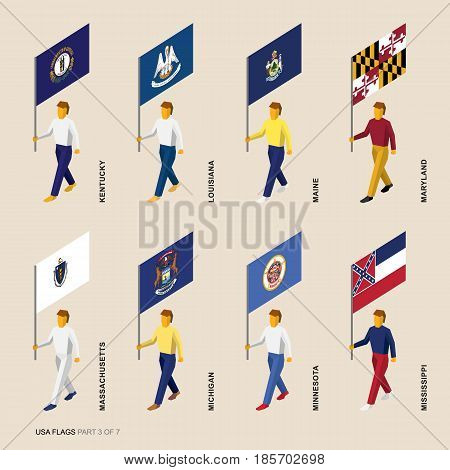 Set of isometric 3D USA standard bearers. Flags of Kentucky, Louisiana, Maine, Maryland, Massachusetts, Michigan, Minnesota, Mississippi. United states political division infographics.