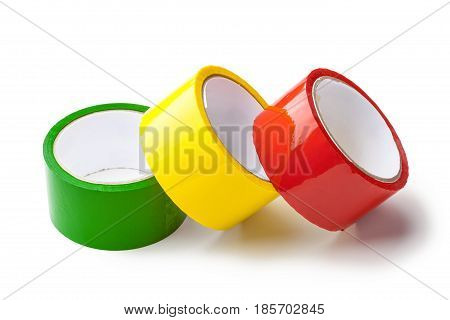 colored tape in large rolls isolated on white
