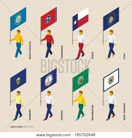 Set of isometric 3D USA standard bearers. Flags of South Dakota, Tennessee, Texas, Utah, Vermont, Virginia, Washington, West Virginia. United states political division infographics.
