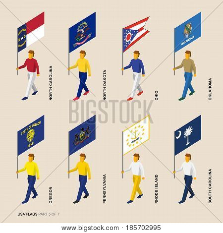 Set of isometric 3D USA standard bearers. Flags of North Carolina, North Dakota, Ohio, Oklahoma, Oregon, Pennsylvania, South Carolina and Rhode Island. United states political division infographics.