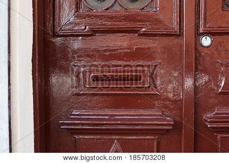 Ancient Letterbox On Wooden Door In Tbilisi, Georgia