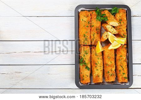 Crispy Breaded Baked Minced Chicken Chimichangas