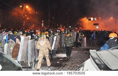 KIEV UKRAINE - MAY 11 2017: Ukraine crisis. Ukraine Protests Barricades from Car Tires and Pavement Stone in Kyiv. Street fights in Kyiv Ukraine.