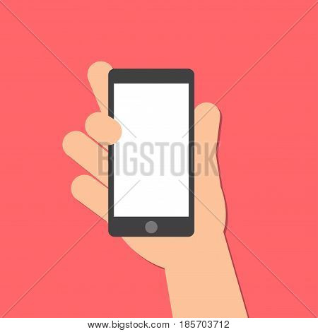 The right hand holds a smart phone in the vertical position. Application Template illustration of a smartphone. Vector icons emblem. Flat style