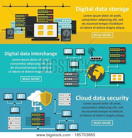 Data storage digital banner horizontal concept set. Flat illustration of 3 data storage digital vector banner horizontal concepts for web