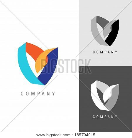 Logo design element. Heart or flower symbol. Vector illustration