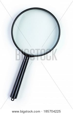 Magnifying glass isolated on white background .