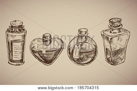Vector seamless pattern with glass flasks. Magic potions: tubes and bottles. Titled illustration. Science lab doodle style sketch Magical elements. Alchemy and vintage science.
