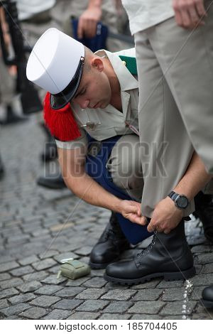 Paris, France - July 14, 2012. The Soldiers from the French Foreign Legion are making their final preparations for the annual military parade in honor of the Bastille Day in Paris.