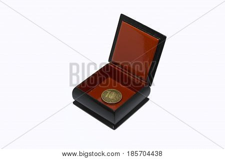 little jewelry box with Russian coin ( 10 rubles) on white background.