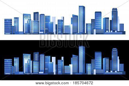 Blue Cityscape Building horizontal modern abstract vector art design