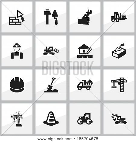 Set Of 16 Editable Building Icons. Includes Symbols Such As Oar, Facing, Notice Object And More. Can Be Used For Web, Mobile, UI And Infographic Design.