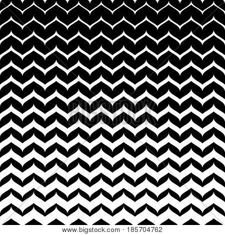 Vector monochrome texture, black & white seamless pattern with curly zigzag lines. Abstract geometric background. Halftone transition effect. Smooth stripes, repeat tiles. Design for decor, textile