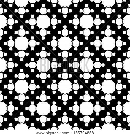 Vector monochrome texture, simple geometric seamless pattern, white octagonal figures on black backdrop. Abstract repeat background for prints, decor, textile, fabric, cover,  digital, web, furniture, cloth