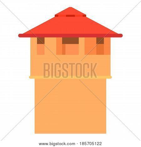 Ancient fort tower icon. Cartoon illustration of ancient fort tower vector icon for web