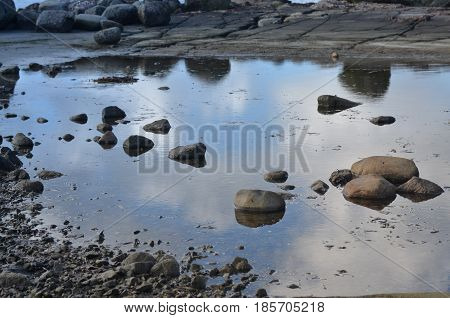 Clear river with rocks leads towards mountains at swedish lake