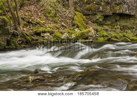 A river with rapids in the spring.