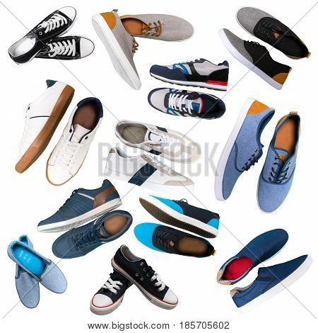 Various men's shoes isolated on the white