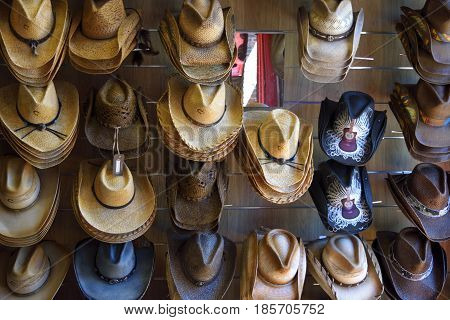 Cowboy hats sold at country western store