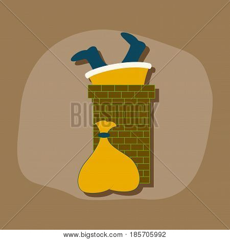paper sticker on stylish background of Santa Claus in chimney