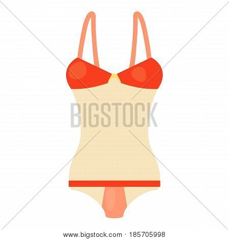 Red and white swimsuit icon. Cartoon illustration ofred and white swimsuit vector icon for web