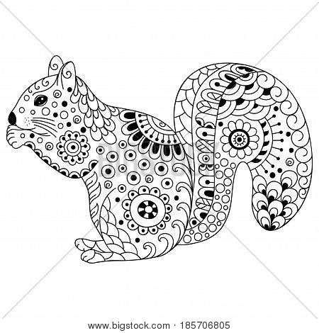 Doodle stylized squirrel. Sketch for coloring book, poster, print, or tattoo. Hand Drawn vector illustration doodle animal. Adult antistress coloring page.