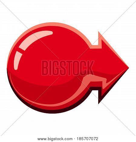 Red glossy right arrow icon. Cartoon illustration of red glossy right arrow vector icon for web