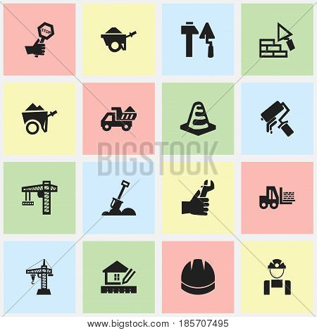 Set Of 16 Editable Building Icons. Includes Symbols Such As Endurance , Hands , Construction Tools. Can Be Used For Web, Mobile, UI And Infographic Design.