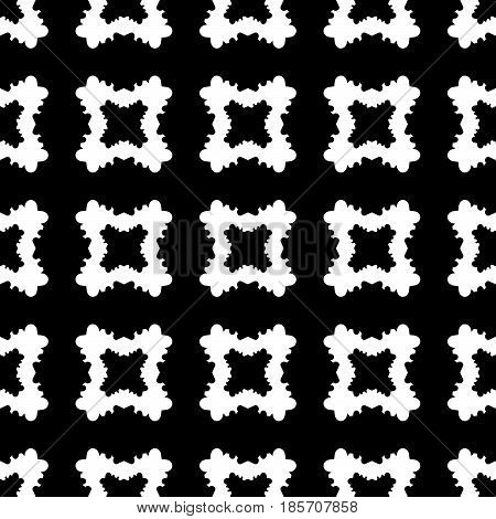 Geometric seamless pattern, abstract monochrome texture with black & white smooth carved quadrangles. Simple old style vector background. Dark design for print, decor, textile, fabric, cloth, package