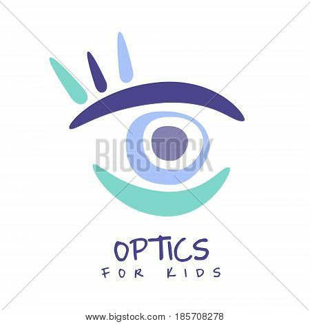 Optics for kids logo symbol. Hand drawn illustration for optics clinic, company, ophthalmology cabinet