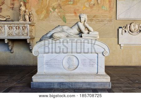 The allegorical figure of Science on the sarcophagus of the late astronomer and physicist Ottaviano-Fabrizio Mossoti in the Camposanto - Pisa, Tuscany, Italy