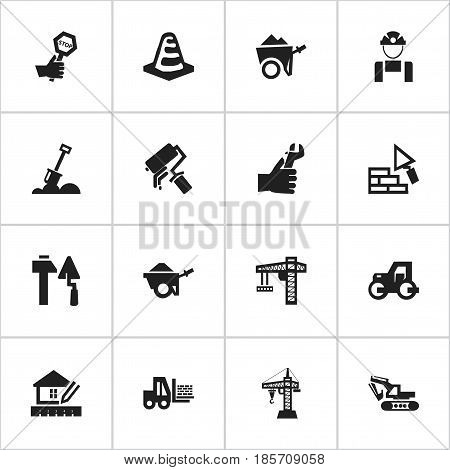 Set Of 16 Editable Building Icons. Includes Symbols Such As Scrub, Lifting Equipment, Construction Tools And More. Can Be Used For Web, Mobile, UI And Infographic Design.