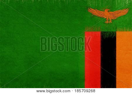 Flag Of Zambia Grunge.