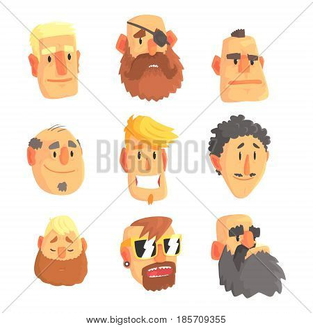 Cartoon avatar men faces with different emotions. Set of men from different nations and professions, colorful Illustrations isolated on white background