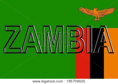 Flag Of Zambia Word.