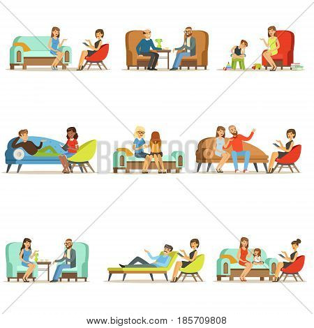 People talking to psychologist. Patients at a reception at the psychotherapies. Psychotherapy counseling, colorful Illustrations isolated on white background