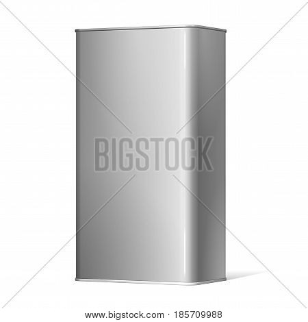 Realistic Package metal Box. For electronic device and other products. Vector illustration.