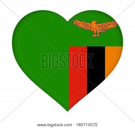 Flag Of  Zambia Heart